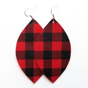NWT Buffalo Plaid Vegan Leather Earrings